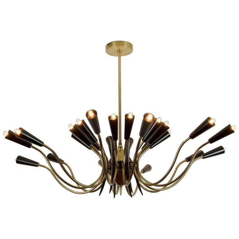 Massive 24-Arm Stilnovo Style Brass and Black Enamel Chandelier