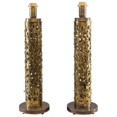 Pair of Italian Brutalist Style Torch Cut Brass Tall Narrow Lamps