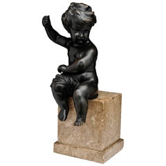 18th Century Cherub Bronze Sculpture Sitting on a Marble Base