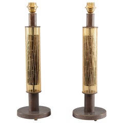 Pair of Italian Art Glass and Metal Cylinder Shaped Lamps