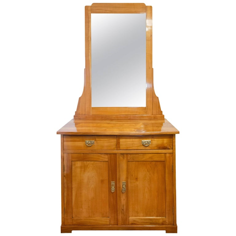 Art Nouveau Cherry Cabinet with Mirror or Vanity Cabinet