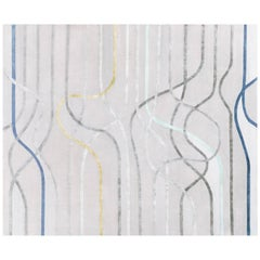 La Seine l'apres-midi, Contemporary Wool and Silk Handmade Fine Rug, in Stock