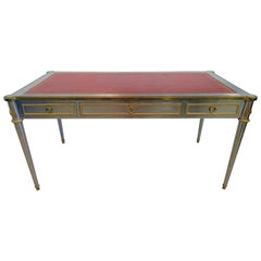French Neoclassic Stainless and Bronze-Mounted Leather Top Desk, Maison Jansen