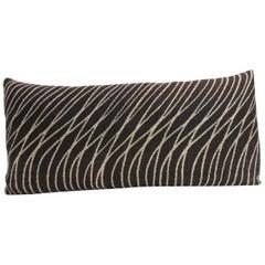 Vintage Asian Hand-Blocked Hemp Decorative Bolster Pillow