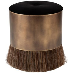 Contemporary 'Thing 4' Stool Ottoman with Antique Brass and Horse Hair by Konekt