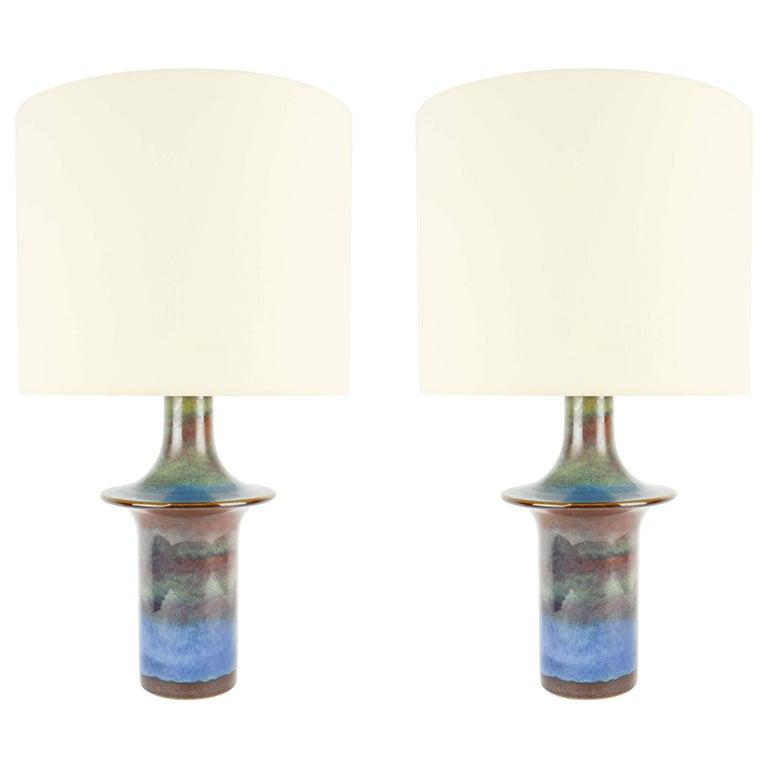 Pair of Einar Johansen's UFO Ceramic Lamps for Soholm Stentj of Denmark For Sale