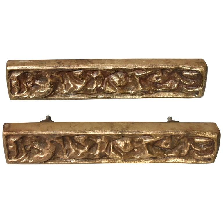 Bronze Brutalist Pair of Door Pulls Attributed Sherrill Broudy For Sale