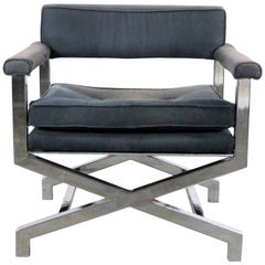 Chrome X-Base Director Style Lounge Chair Style of Milo Baughman