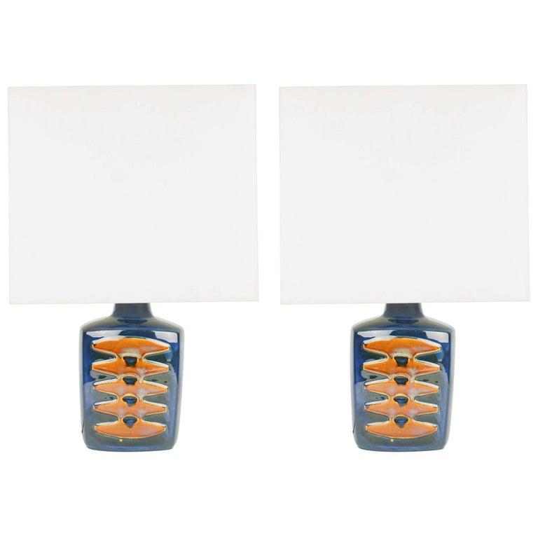 Pair of Einar Johansen Ceramic Table Lamps for Soholm Stentj of Denmark