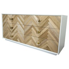 Modern Dresser Bleached Walnut Herringbone Drawer Fronts