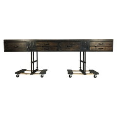 Wood and Steel Industrial Console Table with Original Patina
