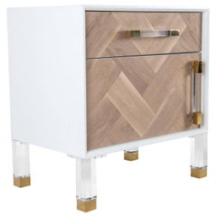 Modern Bleached Walnut Herringbone Side Table with Brass & Lucite Legs and Pulls
