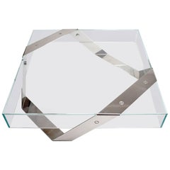 Gift Wrap Tempered Super Clear Glass Coffee Table with White Lacquered Steel