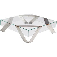 Gift Wrap 2 Tempered Super Clear Glass Coffee Table with White Lacquered Steel