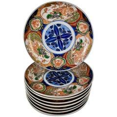Japanese Imari Enameled Porcelain Blue Medallion Plates, Set of Eight