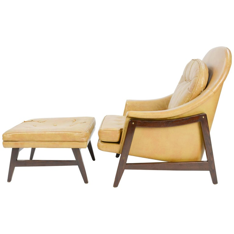 Edward Wormley's Signature Janus Group Club Chair and Ottoman for Dunbar For Sale