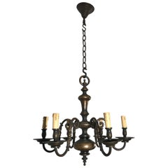 Antique Classic Design Heavy Bronze Six-Arm Candle or Electric Chandelier