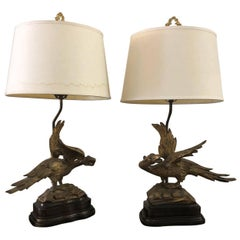 Lovely Pair of Georgian Ho Ho Bird Collector's Lamps
