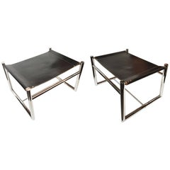 Pair of 1970s Bauhaus Style Leather and Chromed Steel Bench Ottomans