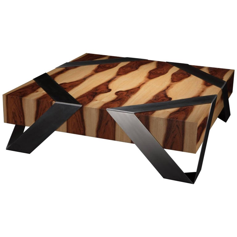 Gift Wrap Two Rose Wood Coffee Table with Polished Stainless Steel Leg