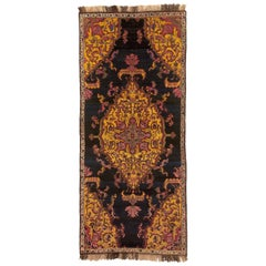 19th Century Bakhtiari Rug Hand-Knotted Wool Blue Yellow Central Medallion