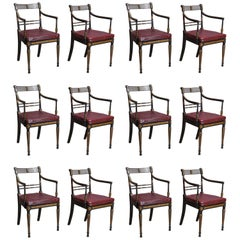 Set of 12 Period English Regency Armchairs for Dining