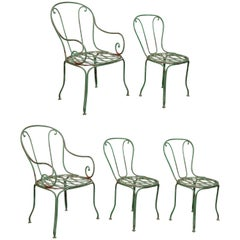Set of Five French Bistro Outdoor Dining Chairs
