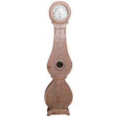 19th Century Swedish Mora Clock with Stripped Finish