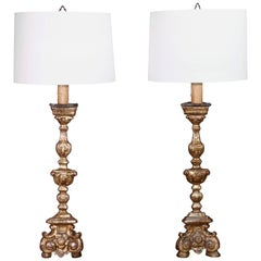 Pair of Late 18th Century Baroque Altar Candlesticks Made into Lamps