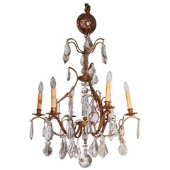 Brass and Crystal Eight-Light Chandelier