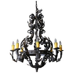 Wrought Iron Spanish-Style Eight-Light Chandelier