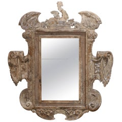 18th Century Italian Stripped Monumental Carved Mirror