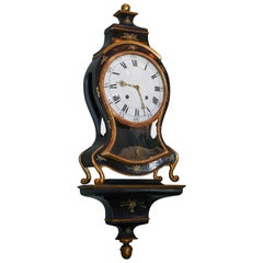 19th Century Swiss Black Lacquer Cartel Clock with Matching Bracket