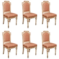 Set of Six Italian Louis XIV Paint and Gilt Hall Chairs
