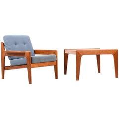 Danish Teak Easy Chair and Sofa Table by Arne Wahl Iversen for Komfort