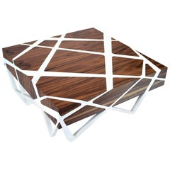 Roots Walnut Coffee Table with White Lacquer