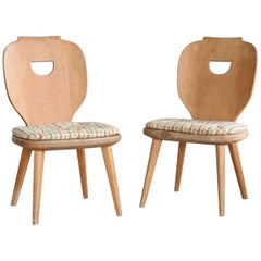 Pair of Carl Malmsten Country Style Side Chairs in Pine, Sweden, 1940s