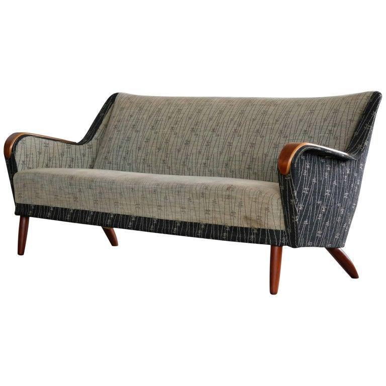 Midcentury Danish 1950s Kurt Olsen Style Sofa with Teak Armrests