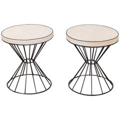 Pair of 1950s Weinberg Style Wire Stools