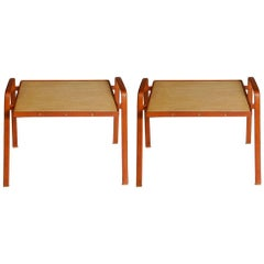 Pair of Side Tables in Stitched Leather by Jacques Adnet