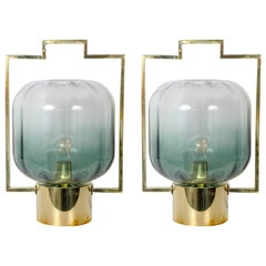 """Pair of """"Japanese Lantern Style"""" Murano Glass Table Lamps"""