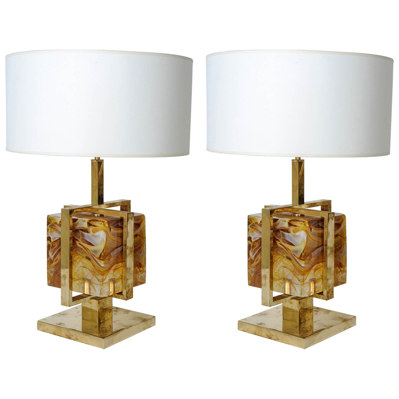 Pair of Murano Glass Table Lamps in the Style of Cenedese