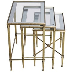 Italian Brass Nesting Tables with Mirrored Frame Glass Tops