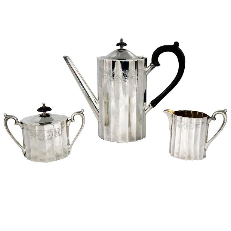 Colonial Classic Silver Plate Coffee Service Lunt Silver Coffee Pot Cream Sugar