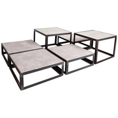 Set of Metal and Travertine Tables