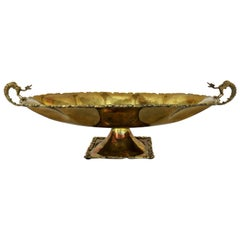 Hand-Wrought Brass Centerpiece Compote Bowl with Cast Details and Dragon Handles