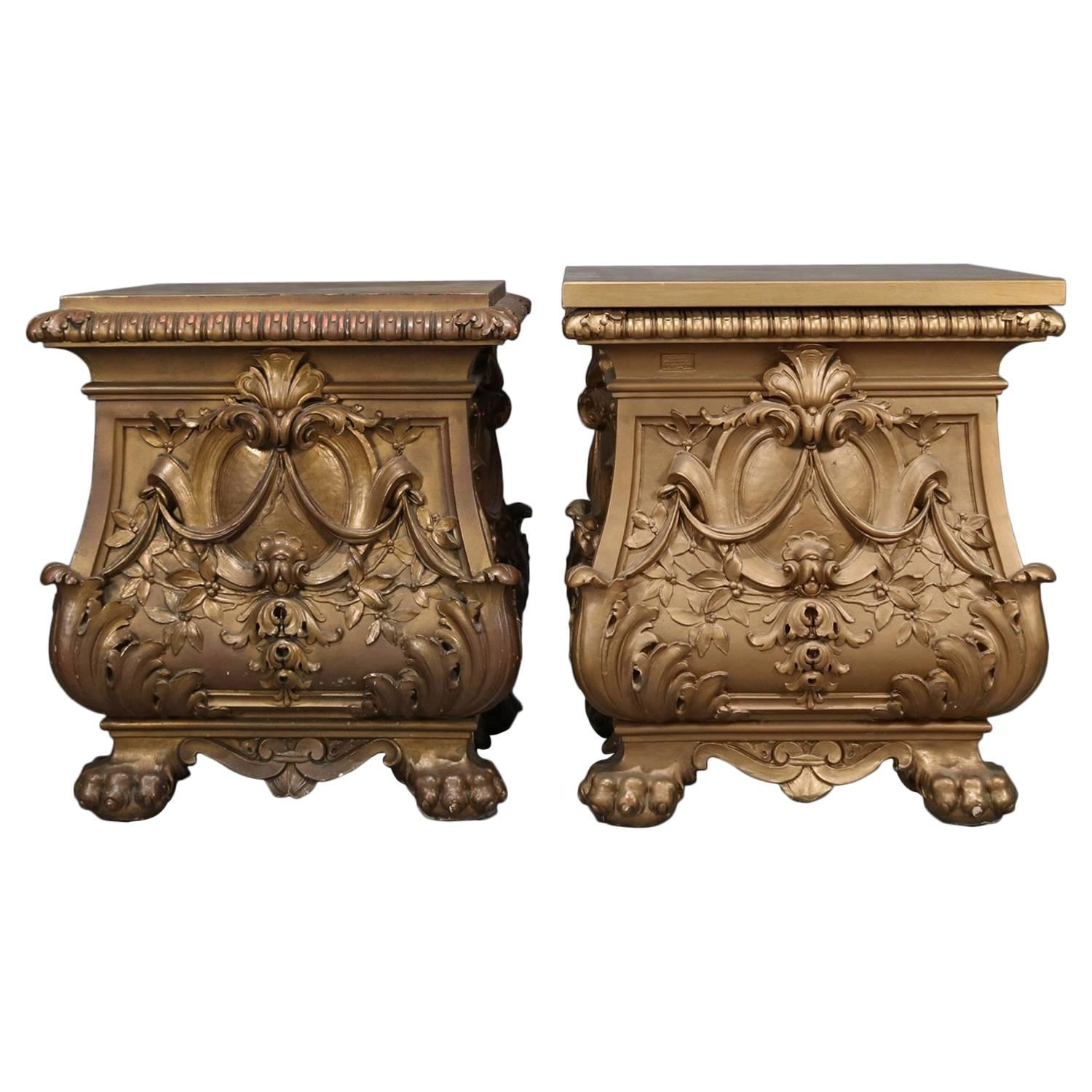 Oversized French Style Gilt Statuary Bombe Pedestal End Tables By Deprato  For Sale