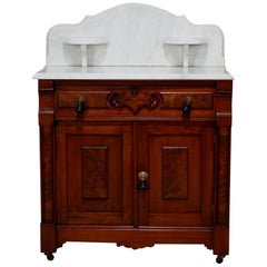 Antique Renaissance Revival Walnut and Burl Marble Top Wash Stand Cabinet