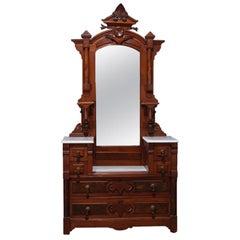 Antique Eastlake Carved Walnut and Burl Dresser Marble-Top Mirrored Dresser