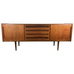 Two-Tone Teak Danish Modern Credenza Centre Drawers, Sliding Doors